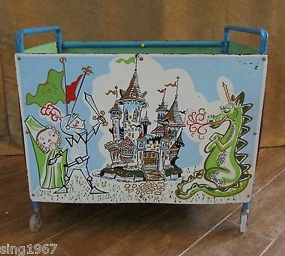 Vintage Toy Box Knight Dragon mid century chest rolling storage castle princess
