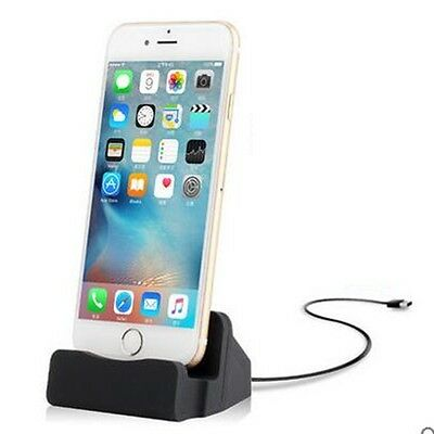 Dockingstation Tischladestation für Apple iPhone 5S 5C SE 6 7 7S 6S Plus Schwarz