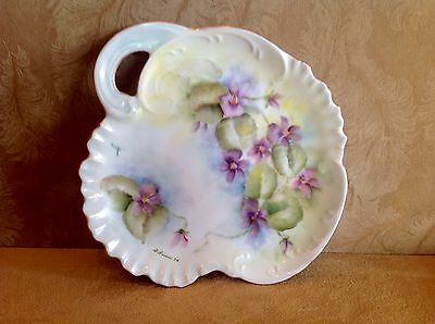 Vintage Hand Painted Porcelain Candy Dish W/ Handle, Flowers, Scalloped Edges