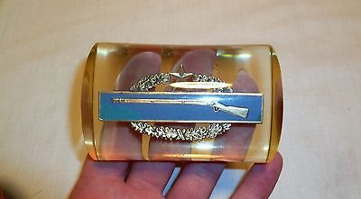 WWII Sterling CIB Combat Infantry Badge Acrylic Paperweight