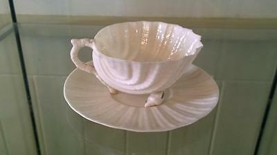 Exquisite Antique Belleek Porcelain 'Neptune' Shell Cup and Saucer Black Mark