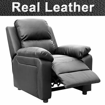 Ultimo Black Real Leather Recliner Armchair Sofa Chair Reclining Home Lounge