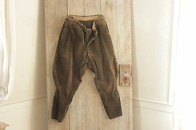 Vintage trousers French pants Riding breeches Equestrian brown cords corduroy 30