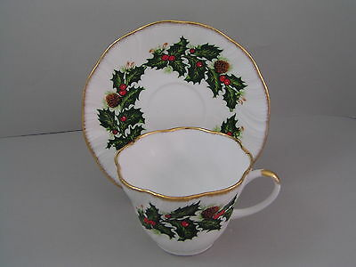 Queens Rosina China Yuletide Fluted Tea Cup And Saucer, Gold Trim.
