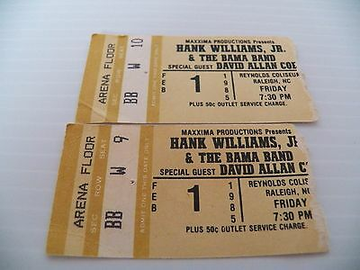 Hank Williams Jr w David Alan Coe at Reynolds Coliseum Ticket Stub Feb 1 1985