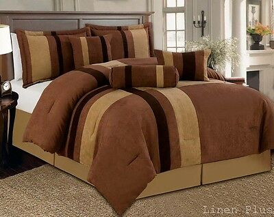 7 Piece Brown Tan Micro Suede Comforter Set King Size New