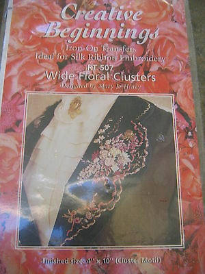 CREATIVE BEGINNINGS WIDE FLORAL CLUSTER Iron on Transfer SILK RIBBON EMBROIDERY