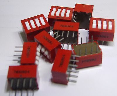 pack of 10 Grayhill 76SB04 4 way DIP switch SPST DIL