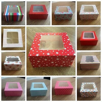 Cake/Cupcake Box/Boxes/Packaging Holds 4 Pink/Funky/Blue/Yellow/Red/Vintage