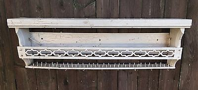 "Antique French Country White Paint Primitive 37½"" Hanging Wall Shelf Rail Aafa"