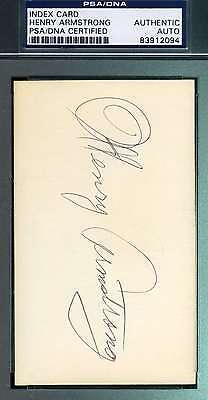 Henry Armstrong Psa/dna Hand Signed 3X5 Index Card Authentic Autograph