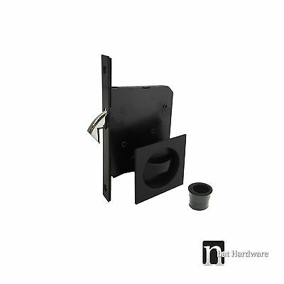 Noble Series Sliding Door Privacy Handles Set with a Pull  - Matt black handle