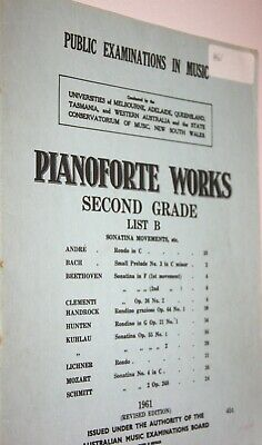 Pianoforte Works Second Grade List B 1961 Edition Australian Music Examinations