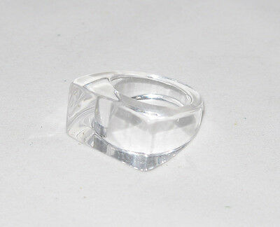 Vintage 1970s clear Lucite cocktail Ring ice cube shape size 6