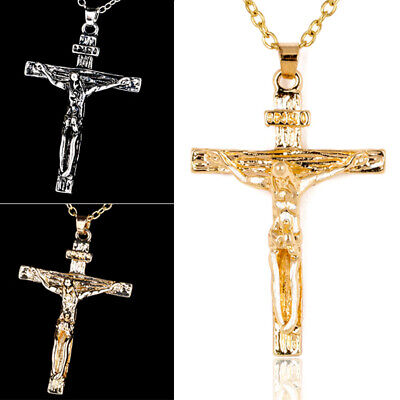 NEW Retro Stainless Steel Gold Plated Chain Cross Jesus Piece Pendant Necklace