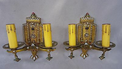 Pair of Bronze Double-Candle Wall Sconces, Signed, Art Deco, Restored, Guarantee