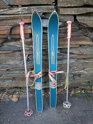 """VINTAGE Wooden 36"""" Skis Has  Bindings Has BLUE  Finish with Metal Poles"""