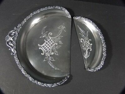 Antique Victorian Webster Fancy Bright Cut Silverplate Crumb Crumber & Tray Set