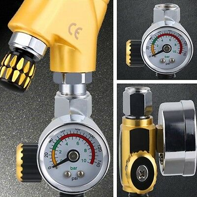 G1/4 Spray Paint Gun Air Pressure Regulator Spray Gun Pressure Gauge 0-0.10Mpa