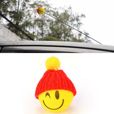 Yellow Happy Smiley ​Face With Wool Hat Car Antenna Pen Topper Aerial Ball