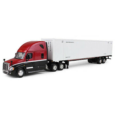 1:64 First Gear RED & BLACK Freightliner Cascadia w/53' Ribbed Container Trailer
