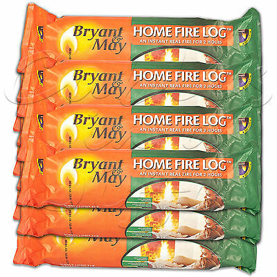 BRYANT & MAY Eco Instant-Light Fire Log Wood Briquettes Burns For 2 - 3 Hours