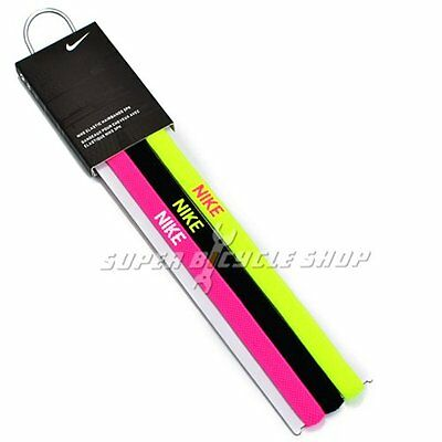 NIKE Elastic Flexible Sports Hairbands 3 PK , Yellow x Black x Pink