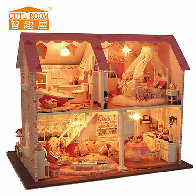 DIY Wooden Handmade Dollhouse Miniature Acoustic control Pink Sweet House Gift
