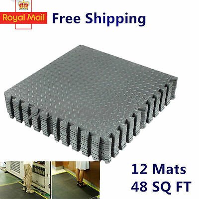 48 Sq Ft Interlocking Eva Foam Mats Tiles Gym Play Garage Workshop Floor Ht