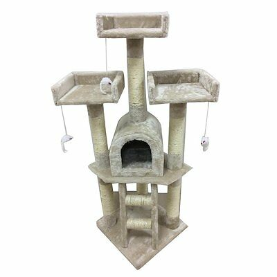 Cat tree scratching post activity centre toys scratcher climbing toy house HT