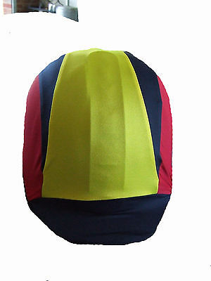 Ecotak custom made 3 colour reversed V lycra helmet cover