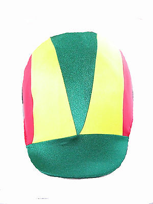 Ecotak custom made 3 colour V lycra helmet cover