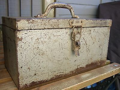 Vintage Silver Metal Tool Box Industrial Utility Artist Craft Box