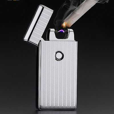 Electric USB Dual Arc Windproof Lighter Cigarette Rechargeable Flameless Silver