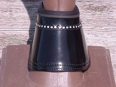 Patent W/bling Crystals Bell Overreach Boots Black  Size L-Can-Pro