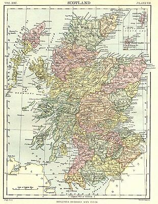 SCOTLAND. Showing counties. Britannica 9th edition 1898 old antique map chart