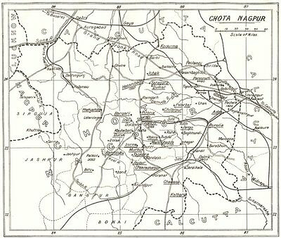 INDIA. Chota Nagpur; main stations assisted S. .  1922 old vintage map chart