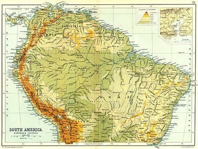 SOUTH AMERICA NORTHERN. Physical map; Inset map of Rio de Janiero 1909 old