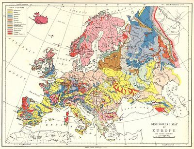 EUROPE. Geographical map of Europe 1897 old antique vintage plan chart