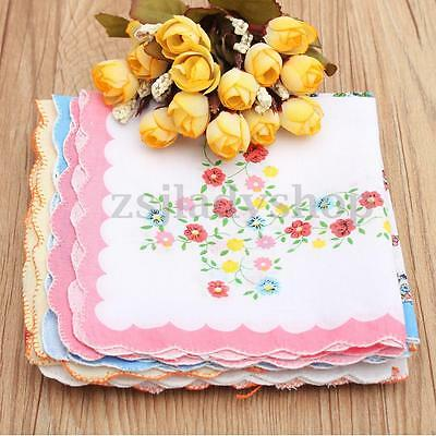 10Pcs Floral Flowers Handkerchiefs Cotton Hankies Women Ladies Quadrate Hanky