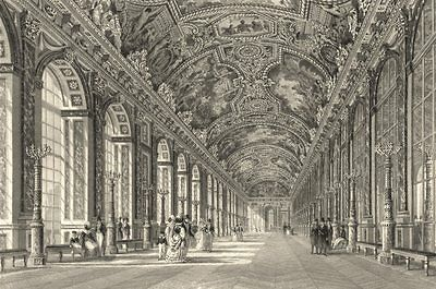 VERSAILLES. Gallery Of Mirrors 1839 old antique vintage print picture