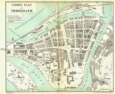 NORWAY. Thomas Cook's Town plan of Trondheim 1923 old vintage map chart