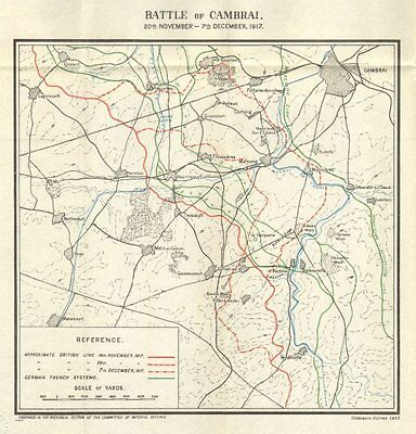 WW1 WESTERN FRONT. Battle of Cambrai, 20 Nov-7 Dec 1917. Trenches 1934 old map