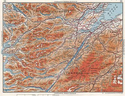 SCOTTISH HIGHLANDS.Ross & Cromarty Inverness-shire Moray Firth.Scotland 1967 map