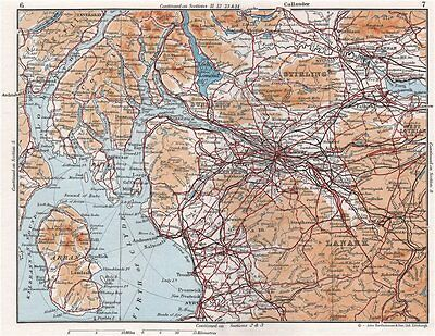 CENTRAL SCOTLAND. Glasgow Firth of Clyde Lanarkshire Dunbarton &c 1967 old map