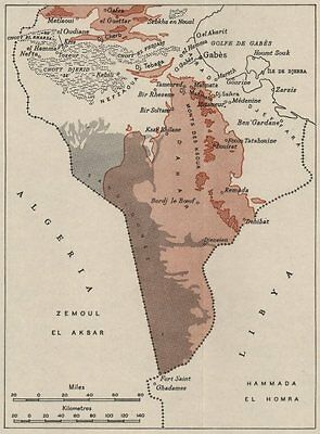 SOUTHERN TUNISIA. WW2 ROYAL NAVY INTELLIGENCE MAP 1945 old vintage chart