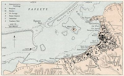 PAPEETE. French Polynesia. WW2 ROYAL NAVY INTELLIGENCE MAP 1943 old