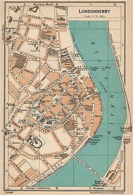 LONDONDERRY. Vintage town city map plan. Ireland 1949 old vintage chart
