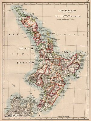 NORTH ISLAND NEW ZEALAND. Showing counties Telegraph cables. JOHNSTON 1906 map