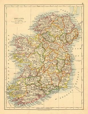 IRELAND. Showing counties. Undersea telegraph cables. JOHNSTON 1897 old map